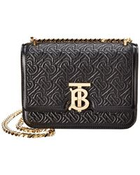 Burberry Tb Quilted Monogram Leather Shoulder Bag - Black