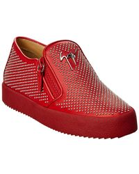 Giuseppe Zanotti Embellished Leather Slip-on Sneaker - Red