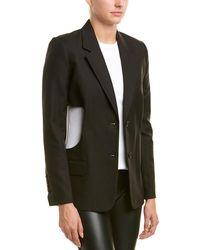 Helmut Lang Cutout Linen & Wool-blend Blazer - Black