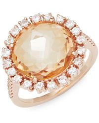 Suzanne Kalan - White Sapphire, Champagne Topaz And 14k Rose Gold Ring - Lyst