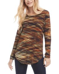 Karen Kane Long Sleeve Shirttail Tee - Brown