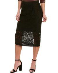 BCBGMAXAZRIA Lace Midi Skirt - Black