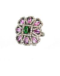 Arthur Marder Fine Jewelry Silver 4.50 Ct. Tw. Diamond & Gemstone Ring - Metallic