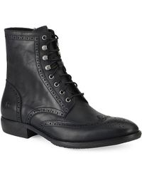 Andrew Marc - Hillcrest Leather Brogue Wingtip Ankle Boots - Lyst
