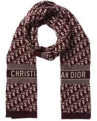 Dior Cd Oblique Wool & Cashmere-blend Stole - Red