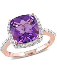 Rina Limor 10k Rose Gold 3.60 Ct. Tw. Diamond & Amethyst Ring - Purple