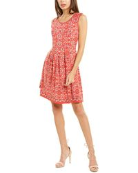 Max Studio Patterned A-line Dress - Red