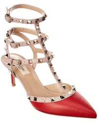 Valentino Rockstud Caged 65 Leather Ankle Strap Pump - Red