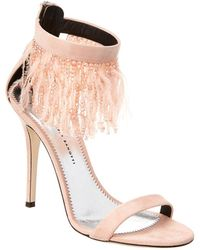 Giuseppe Zanotti Feather Embellished Suede Sandal - Pink
