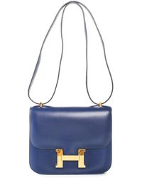 Hermès Blue Box Calf Leather Constance 25cm