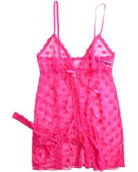 Hanky Panky Lace Hot Dot Babydoll And G-string Set - Pink