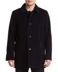 Cole Haan Navy Wool-blend Coat - Blue