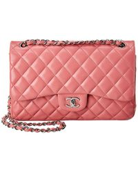 Chanel Pink Quilted Lambskin Leather Jumbo Double Flap Bag