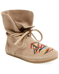 Lyst Toms Zahara Suede Moccasin Bootie In Black