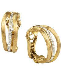 Marco Bicego Jaipur Link 18k Two-tone 0.25 Ct. Tw. Diamond Three Row Hoops - Metallic