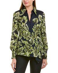 Elie Tahari Haylee Leaf-print Long-sleeve Silk Blouse - Green