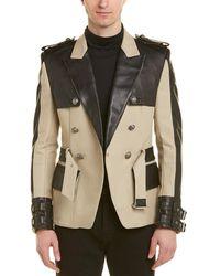 Balmain Canvas & Leather Short Trench Coat - Natural