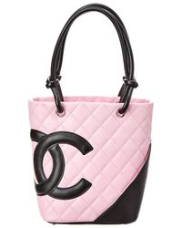 Chanel Pink Quilted Calfskin Leather Small Cambon Tote