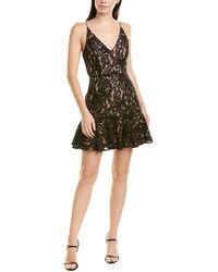 Keepsake Dreamers Sleeveless Lace Ruffle Hem Short Mini Dress - Black