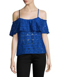 Plenty by Tracy Reese Cold-shoulder Lace Top - Blue