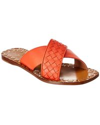Bottega Veneta Furrow Intrecciato Leather Slide - Red