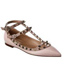 Valentino Rockstud Caged Ankle Strap Leather Ballet Flat - Pink