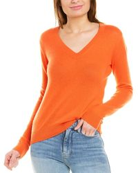 Theory V-neck Feather Cashmere Sweater - Orange