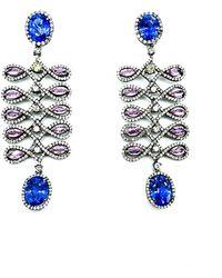 Arthur Marder Fine Jewelry 14k & Silver 6.50 Ct. Tw. Diamond & Tanzanite Earrings - Metallic