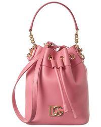 Dolce & Gabbana Dg Logo Leather Bucket Bag - Pink