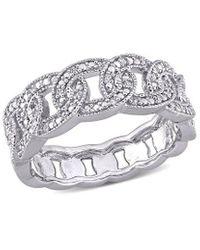 Rina Limor Silver 0.11 Ct. Tw. Diamond Link Ring - Metallic