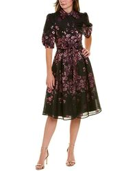 Teri Jon By Rickie Freeman Brocade A-line Dress - Black