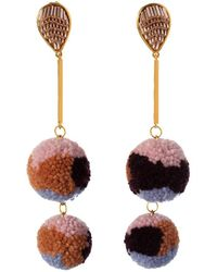 Mignonne Gavigan Doris 18k Yellow Gold Plated Pom Pom Earrings - Multicolour
