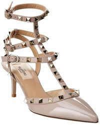483070ccdc6 Valentino - Cage Rockstud 65 Patent Ankle Strap Pump - Lyst