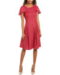 St. John Wool-blend A-line Dress - Pink