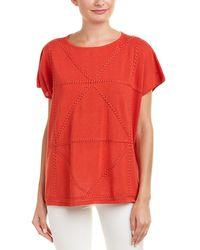 Joan Vass Linen-blend Top - Red