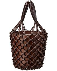 STAUD Moreau Netted Leather Bucket Bag - Brown