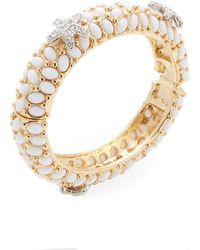 Kenneth Jay Lane - Gold-plated Glass & Crystal Statement Bracelet - Lyst
