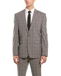 Vince Camuto Medium Brown Plaid Slim Fit 2-piece Suit
