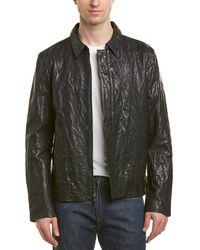 John Varvatos Slim Fit Leather Jacket - Multicolour