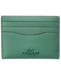 COACH Flat Crossgrain Leather Card Case - Green