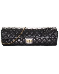 Chanel Black Quilted Lambskin Leather Rayures Reissue Clutch Handbag