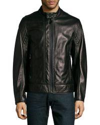 Andrew Marc Windsor Leather Jacket - Black
