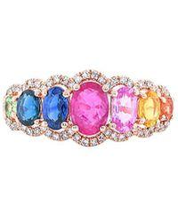 Diana M. Jewels - . Fine Jewelry 14k Rose Gold 1.89 Ct. Tw. Diamond & Sapphire Ring - Lyst
