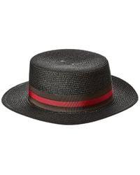 Surell Accessories Straw Flat Top Hat - Black