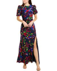 Saloni Annie B Silk Maxi Dress - Blue