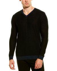 Forte Cashmere Linen-blend V-neck Sweater - Black