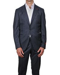 Isaia Gregory Blue Chalk Stripe Super Wool Suit