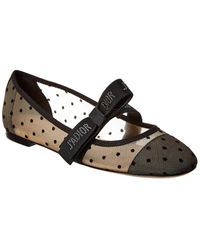 Dior Mis J'a Dotted Swiss Tulle Ballet Flat - Black