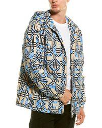 Burberry Logo Print Hooded Jacket - Blue