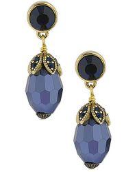 Heidi Daus Crystal Drop Earrings - Blue
